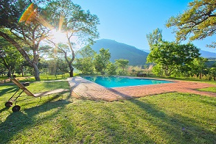 The pristine pool is close to the camping sites